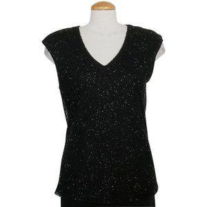 Black Modal Jersey Bead Overlay Top PL